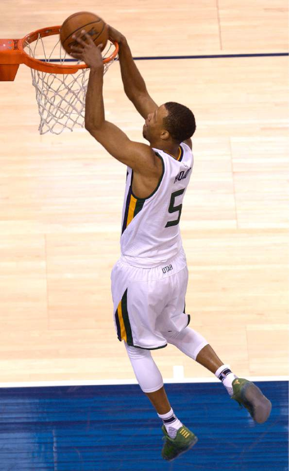 Leah Hogsten  |  The Salt Lake Tribune  Utah Jazz guard Rodney Hood (5) with the dunk. The Utah Jazz trail the Los Angeles Clippers 59-62 in the third quarter during Game 6 at Vivint Smart Home Arena, Friday, April 28, 2017 during the NBA's first-round playoff series.