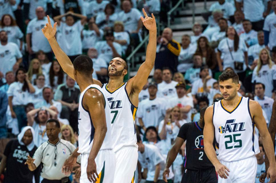 Chris Detrick  |  The Salt Lake Tribune Utah Jazz center Rudy Gobert (27) reacts after being called on a foul during the game at Vivint Smart Home Arena Friday, April 28, 2017.