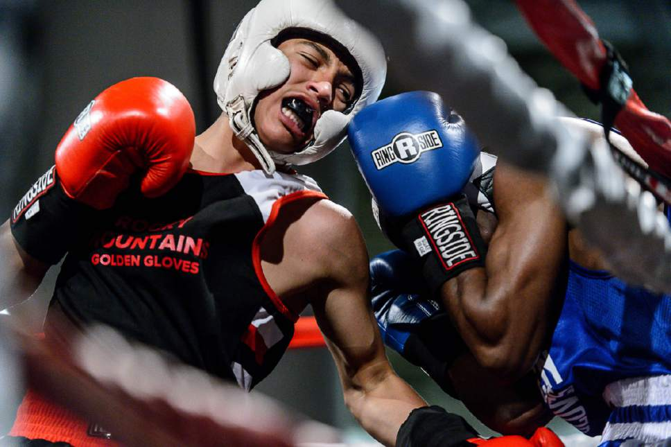 Trent Nelson  |  The Salt Lake Tribune Diego Alvarez, Rocky Mountain (red), defeats Timothy Jarman, St. Louis, in boxing action at the Golden Gloves of America's 2016 National Tournament of Champions in Salt Lake City, Thursday May 19, 2016.