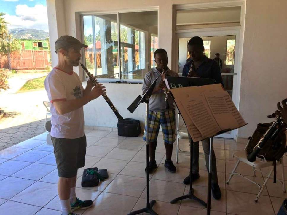 Utah Symphony oboist James Hall works with students in Jacmel, Haiti, during a weeklong teaching trip. Jules Youdley  |  Courtesy