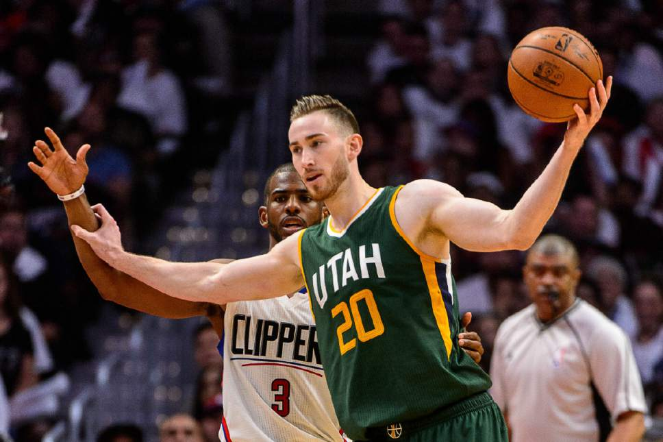 Trent Nelson  |  The Salt Lake Tribune Utah Jazz forward Gordon Hayward (20) defended by LA Clippers guard Chris Paul (3) as the Utah Jazz face the Los Angeles Clippers in Game 7 at STAPLES Center in Los Angeles, California, Sunday April 30, 2017.