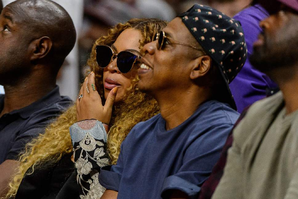 Trent Nelson  |  The Salt Lake Tribune Beyonce and Jay-Z watch the game as the Utah Jazz face the Los Angeles Clippers in Game 7 at STAPLES Center in Los Angeles, California, Sunday April 30, 2017.