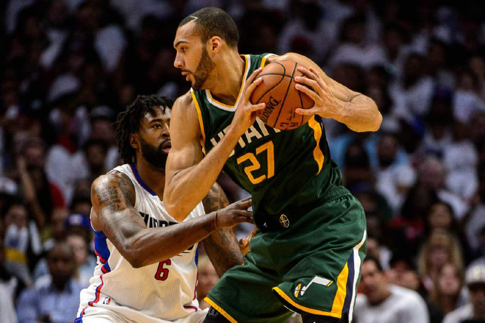 Trent Nelson  |  The Salt Lake Tribune Utah Jazz center Rudy Gobert (27) defended by LA Clippers center DeAndre Jordan (6) as the Utah Jazz face the Los Angeles Clippers in Game 7 at STAPLES Center in Los Angeles, California, Sunday April 30, 2017.