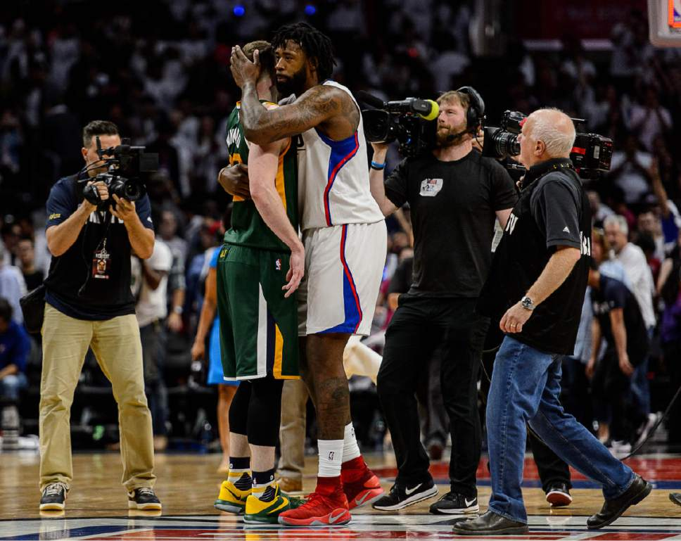 Trent Nelson  |  The Salt Lake Tribune LA Clippers center DeAndre Jordan (6) embraces Utah Jazz forward Gordon Hayward (20) after the game the Utah Jazz defeat the Los Angeles Clippers in Game 7 at STAPLES Center in Los Angeles, California, Sunday April 30, 2017.