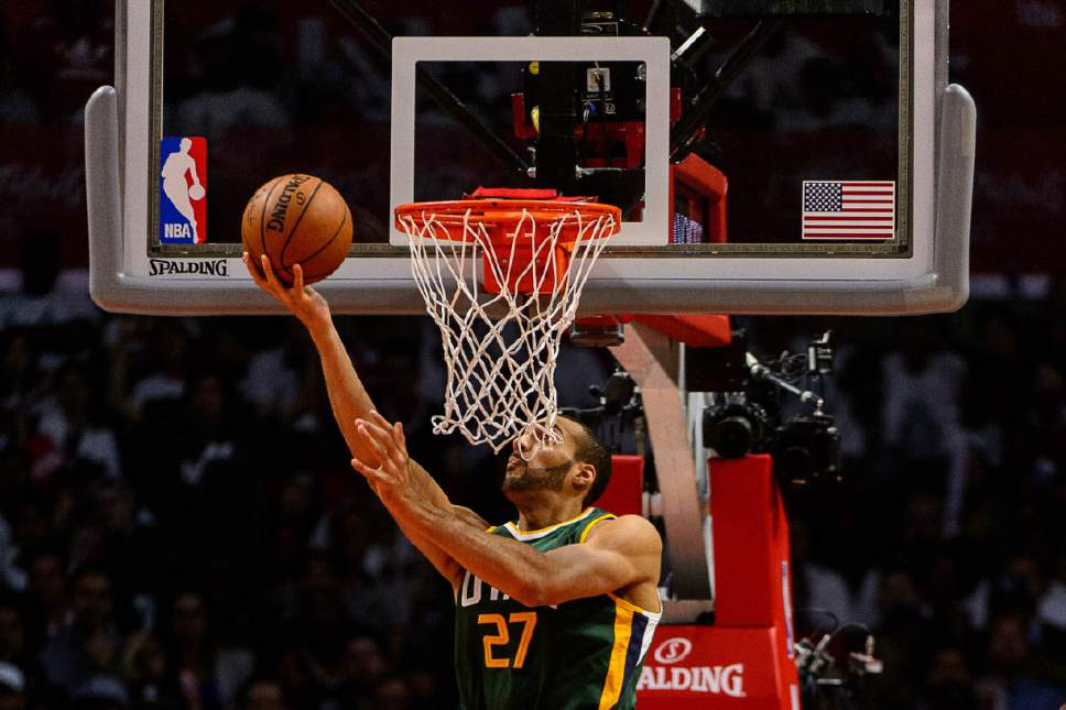 Trent Nelson  |  The Salt Lake Tribune Utah Jazz center Rudy Gobert (27) shoots the ball as the Utah Jazz face the Los Angeles Clippers in Game 7 at STAPLES Center in Los Angeles, California, Sunday April 30, 2017.