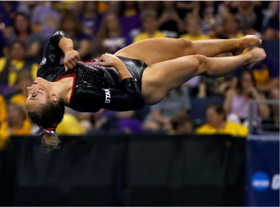 Utah's MyKayla Skinner competes on the floor exercise during the NCAA college women's gymnastics championships, Saturday, April 15, 2017, in St. Louis. (AP Photo/Jeff Roberson)