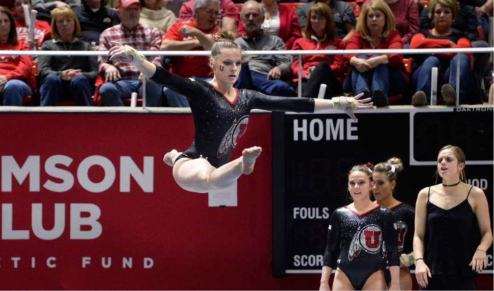Scott Sommerdorf | The Salt Lake Tribune Missy Reinstadtler leaps during her floor routine that earned a 9.925 score. Utah outscored Stanford 197.500 to 196.275, Friday, March 3, 2017.