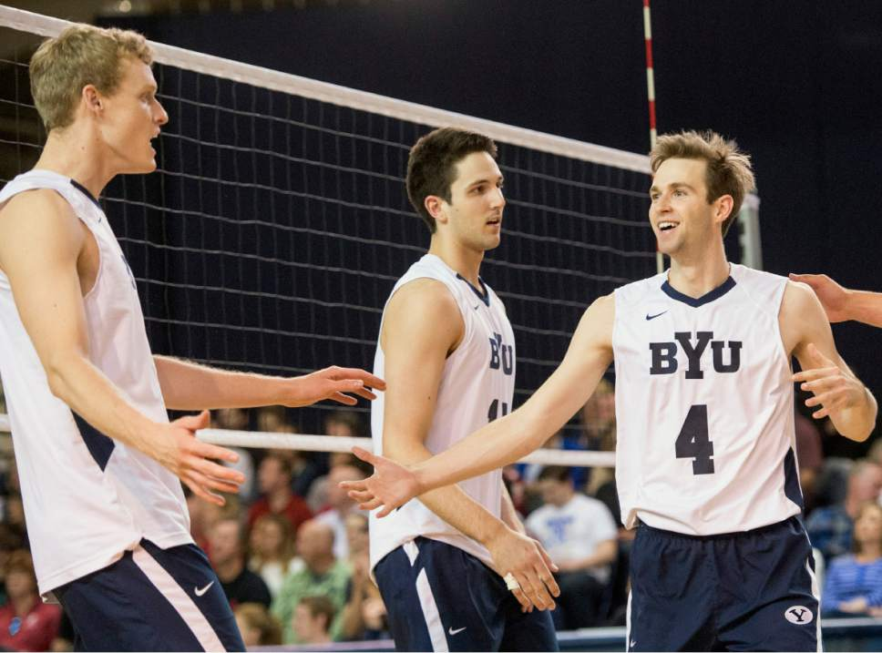 Rick Egan  |  The Salt Lake Tribune  Jake Langlois (10) and Leo Durkin (4) celebrate a big point for BYU, in Volleyball action, BYU vs. Stanford, at the Smith Field House in Provo,  Saturday, April 15, 2017.