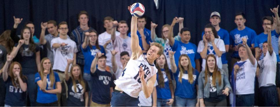 Rick Egan  |  The Salt Lake Tribune  Jake Langlois (10) serves the ball for BYU in Volleyball action, BYU vs. Stanford, at the Smith Field House in Provo,  Saturday, April 15, 2017.