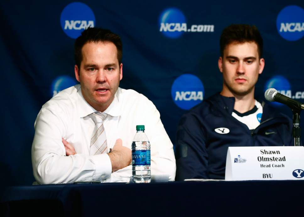 Jaren Wilkey  |  BYU  BYU Head Coach Shawn Olmstead answers questions during the post-game press conference. The BYU Men's Volleyball defeated Long Beach State 3-1 on April 5, 2016 in the Semi-Final Match of the NCAA Volleyball Championships, hosted by Penn State in University Park, Pennsylvania.