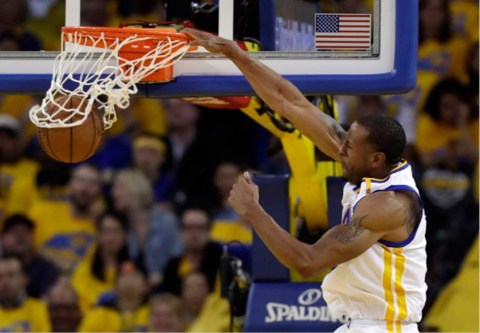 Golden State Warriors' Andre Iguodala dunks against the Portland Trail Blazers during the second half in Game 2 of a first-round NBA basketball playoff series Wednesday, April 19, 2017, in Oakland, Calif. (AP Photo/Marcio Jose Sanchez)