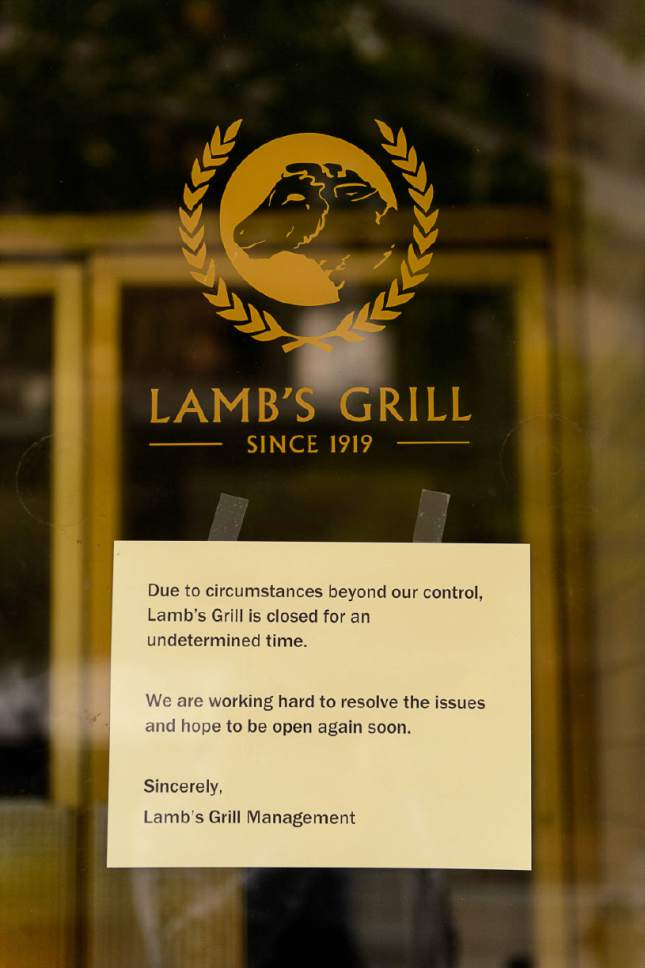 Trent Nelson  |  The Salt Lake Tribune Lamb's Grill in Salt Lake City has closed, Thursday April 27, 2017.