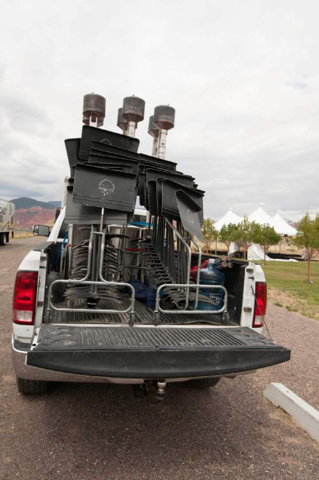 Ann Torrence | For The Salt Lake Tribune  A pick-up truck delivers music stands for the Utah Symphonys performance on Tuesday Aug. 12, 2014 in Teasdale, Utah as part of its Mighty 5 Tour.
