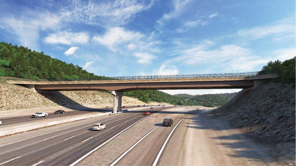 |  Courtesy of Utah Department of Transportation   A rendering shows the proposed wildlife bridge on Parleys Summit. The bridge is expected to be 45 feet wide and 345 feet long. Officials are still considering whether it should include trees and plants.