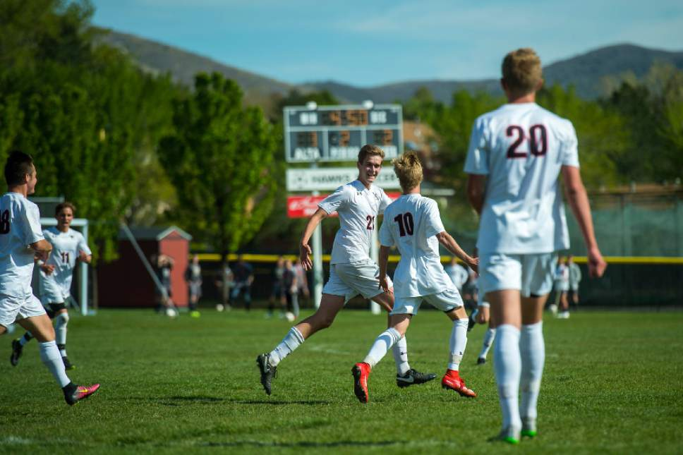 Chris Detrick  |  The Salt Lake Tribune Alta's Seth Lowry (10) and Alta's Josh Affleck (21) celebrate after Lowry scored a goal during the game at Alta High School Tuesday, May 2, 2017.