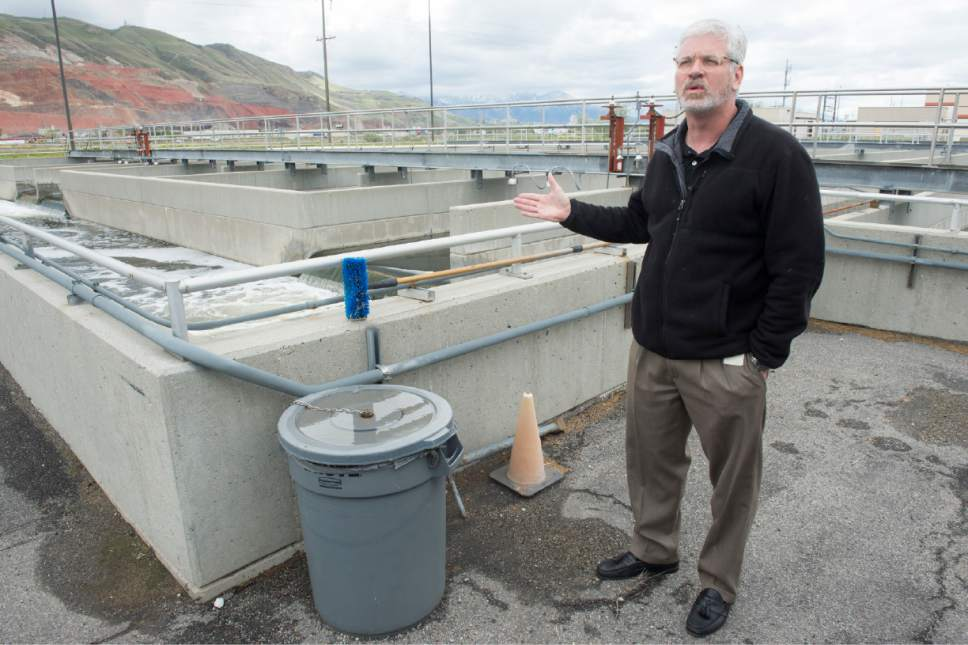 Rick Egan  |  The Salt Lake Tribune  Giles Demke. Plant Maintenance Engineer at Salt Lake City Corporation, talks about the Chlorine contact basin  as he gives a tour of the Wastewater Treatment Plant, located at 1300 West 2300 North in Salt Lake City, Thursday, April 27, 2017.