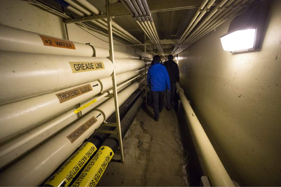Rick Egan  |  The Salt Lake Tribune  Underground corridor at the Wastewater Treatment Plant, located at 1300 West 2300 North in Salt Lake City, Thursday, April 27, 2017.