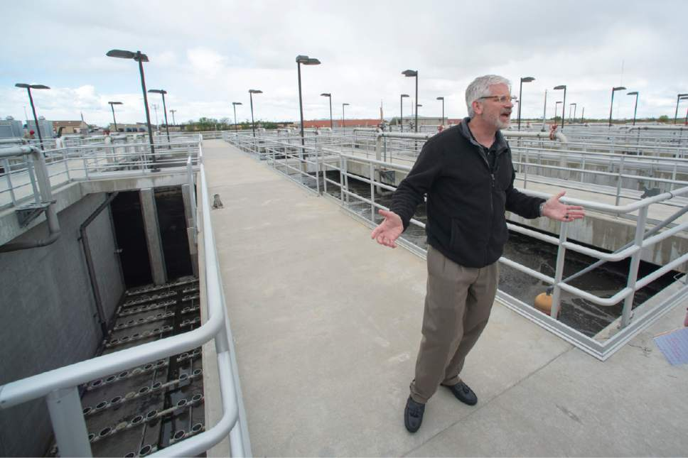 Rick Egan  |  The Salt Lake Tribune  Giles Demke. Plant Maintenance Engineer at Salt Lake City Corporation, talks about the aeration basin, as he gives a tour of the Wastewater Treatment Plant, located at 1300 West 2300 North in Salt Lake City, Thursday, April 27, 2017.