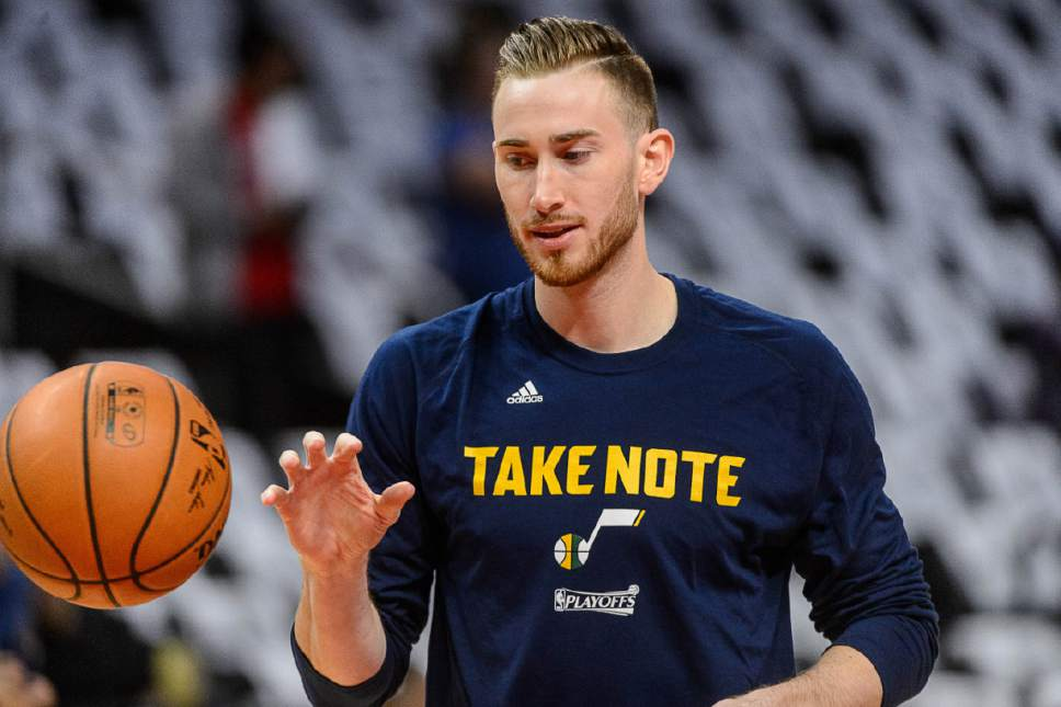 Trent Nelson  |  The Salt Lake Tribune Utah Jazz forward Gordon Hayward (20) warms up as the Utah Jazz face the Los Angeles Clippers in Game 7 at STAPLES Center in Los Angeles, California, Sunday April 30, 2017.