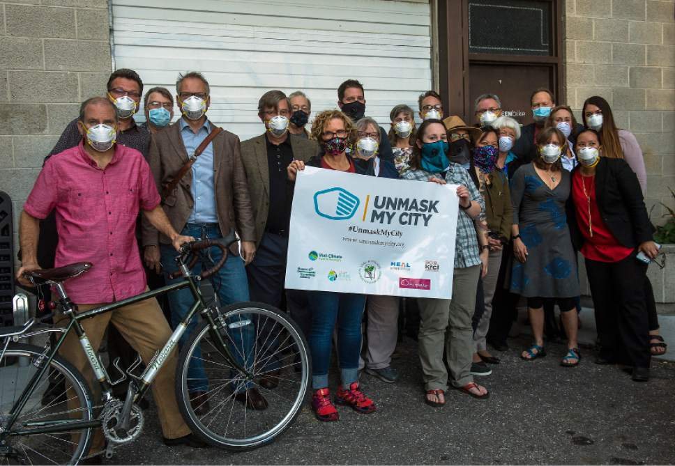 Chris Detrick  |  The Salt Lake Tribune Local healthcare professionals attend the Unmask My City: Air Quality, Climate Change and Your Health event at Impact Hub on Tuesday.