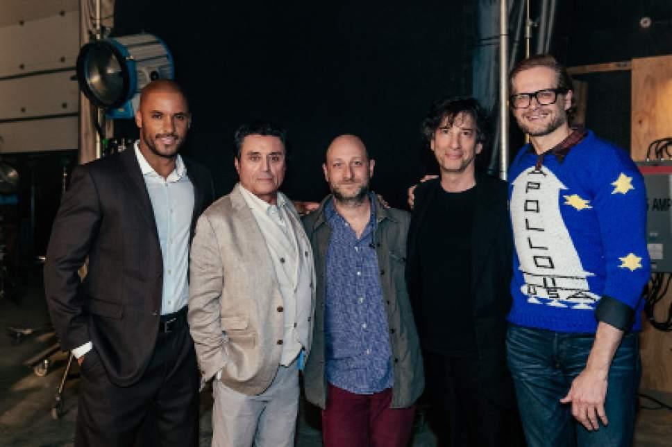 Ricky Whittle, Ian McShane, executive producer Michael Green, author Neil Gaiman, and executive producer Bryan Fuller. Courtesy Starz