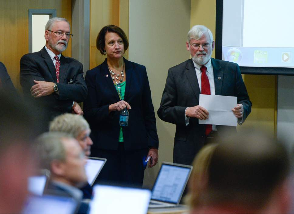"Francisco Kjolseth | The Salt Lake Tribune  A. Lorris Betz, the interim U. Health Care CEO at the University of Utah, left, Ruth Watkins, Sr. VP of Academic Affairs University President David Pershing attend a meeting at the Spencer F. and Cleone P. Eccles Health and Sciences Building on Monday, May 1, 2017, to address plans moving forward in finding a replacement for former Health Care CEO Vivian Lee. President Pershing announced he will be stepping down from his post, and that the search for his replacement will run in ""parallel"" with the hiring process for a new Health Sciences vice president to replace Vivian Lee, who resigned Friday amid controversy."