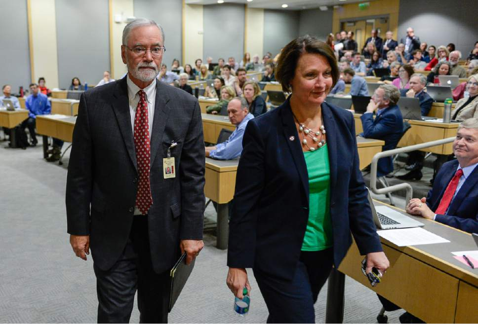 Francisco Kjolseth | The Salt Lake Tribune  A. Lorris Betz, the interim U. Health Care CEO at the University of Utah and Ruth Watkins, Sr. VP of Academic Affairs leave a meeting held by University President David Pershing at the Spencer F. and Cleone P. Eccles Health and Sciences Building on Monday, May 1, 2017, to address plans moving forward in finding a replacement for former Health Care CEO Vivian Lee.