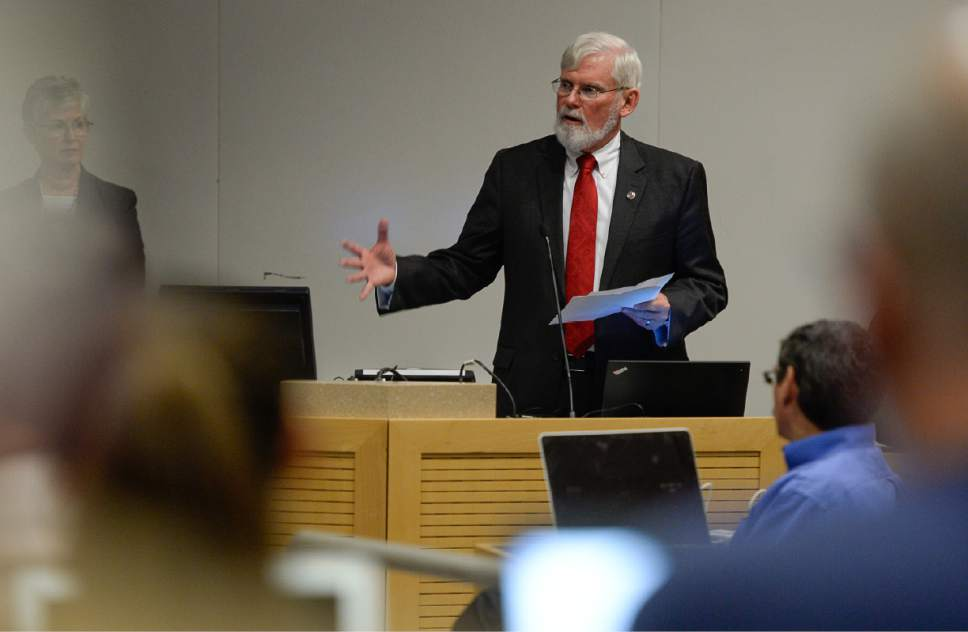 "Francisco Kjolseth | The Salt Lake Tribune  University of Utah President David Pershing announces A. Lorris Betz as the interim U. Health Care CEO during a meeting at the Spencer F. and Cleone P. Eccles Health and Sciences Building on Monday, May 1, 2017. Pershing also addressed plans for finding a replacement for former Health Care CEO, Vivian Lee. President Pershing announced he will be stepping down from his post, and that the search for his replacement will run in ""parallel"" with the hiring process for a new Health Sciences vice president to replace Vivian Lee, who resigned Friday amid controversy."
