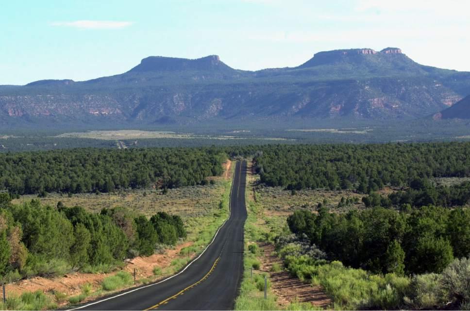 "Where is it?  Utah State Road 261 heading north across Cedar Mesa towards the ""Bears Ears"" in San Juan County.  .photo by Al Hartmann. 08/12/2000"