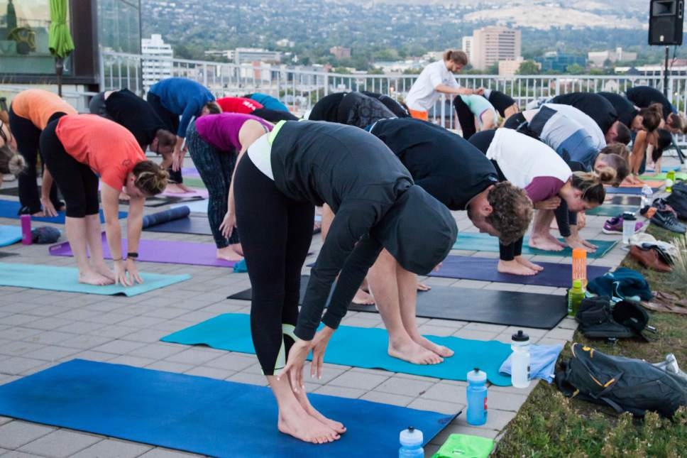 Courtesy photo   The rooftop yoga series at the Main Library in Salt Lake City returns in 2017. Classes are held the second Friday of each month at 7 a.m.; and the fourth Tuesday of each month at 7 p.m., May through August.