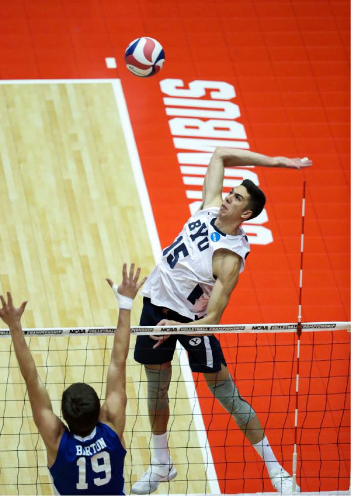 |  BYU Photo  BYU's Brenden Sander in action against Barton College during the NCAA Championships May 2, 2017 in Columbus Ohio.