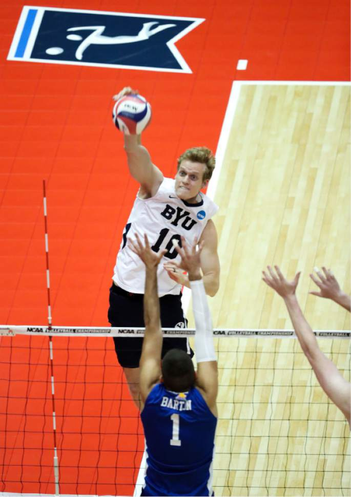 |  BYU Photo  BYU's Jake Langlois in action against Barton College during the NCAA Championships May 2, 2017 in Columbus Ohio.