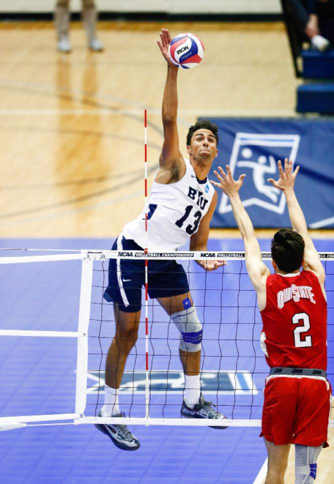 Patch, Ben _W2_4604  BYU's Ben Patch kills a ball in the second set. The BYU men's volleyball was defeated by Ohio State 0-3 in the Championship Match of the NCAA Men's Volleyball Championships. The Championships were hosted at Rec Hall, on the Penn State campus in University Park, Pennsylvania.  April 7, 2016  Photo by Jaren Wilkey/BYU  © BYU PHOTO 2016 All Rights Reserved photo@byu.edu  (801)422-7322