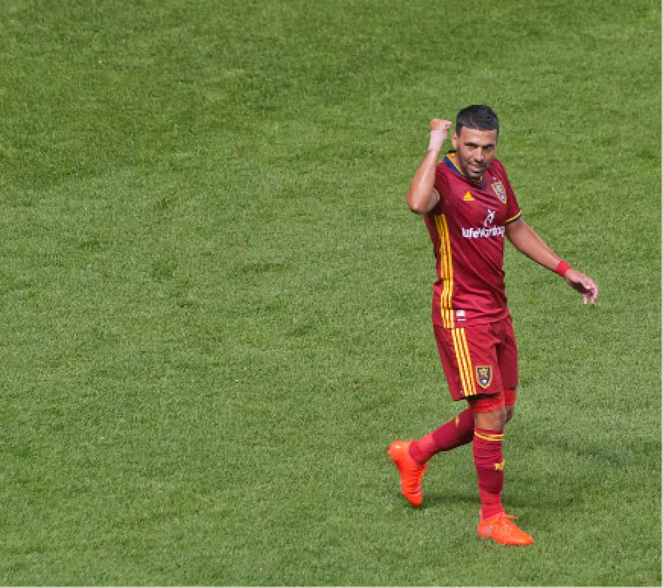 Michael Mangum  |  Special to the Tribune  Real Salt Lake midfielder Javier Morales (11) celebrates his second goal during their MLS match against the Chicago Fire at Rio Tinto Stadium in Sandy, Utah on Saturday, August 6th, 2016.