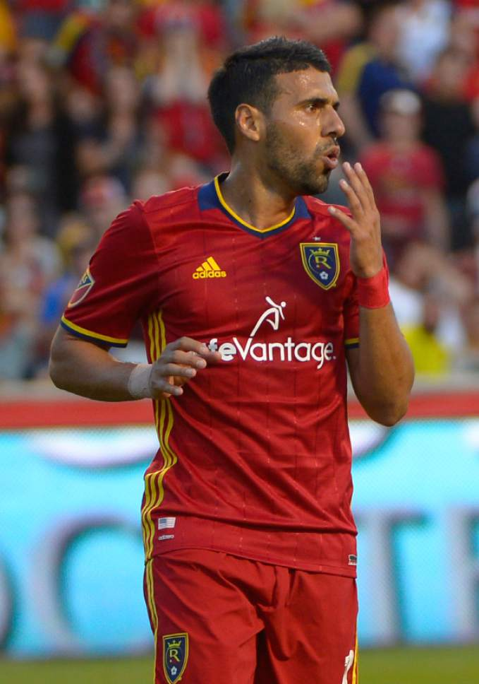 Leah Hogsten  |  The Salt Lake Tribune Real Salt Lake midfielder Javier Morales (11) reacts to his blocked penalty kick. Real Salt Lake defeated the Colorado Rapids 2-1 during their Rocky Mountain Championship Cup game at Rio Tinto Stadium Friday, August 26, 2016.