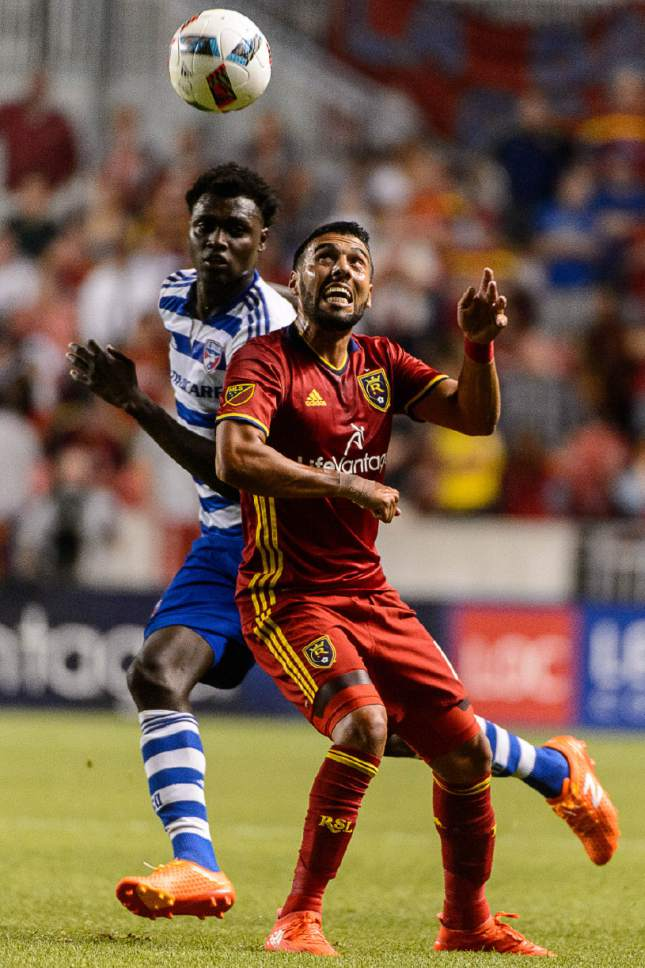 Trent Nelson  |  The Salt Lake Tribune Real Salt Lake midfielder Javier Morales (11) heads the ball as Real Salt Lake faces FC Dallas at Rio Tinto Stadium in Sandy, Saturday August 20, 2016.