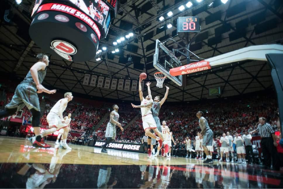 Lennie Mahler  |  The Salt Lake Tribune  Utah's Kyle Kuzma puts up a shot in the final minutes during a game between Utah and Washington State at the Huntsman Center in Salt Lake City, Thursday, Feb. 9, 2017.