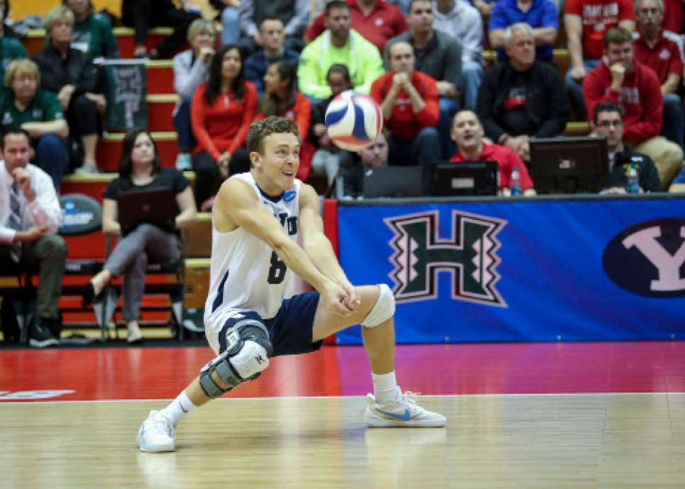 |  BYU Photo  BYU's Erik Sikes in action against Long Beach State during the NCAA Championships May 4, 2017 in Columbus Ohio. The Cougars swept the 49ers to advance to the National Championship game on Saturday.