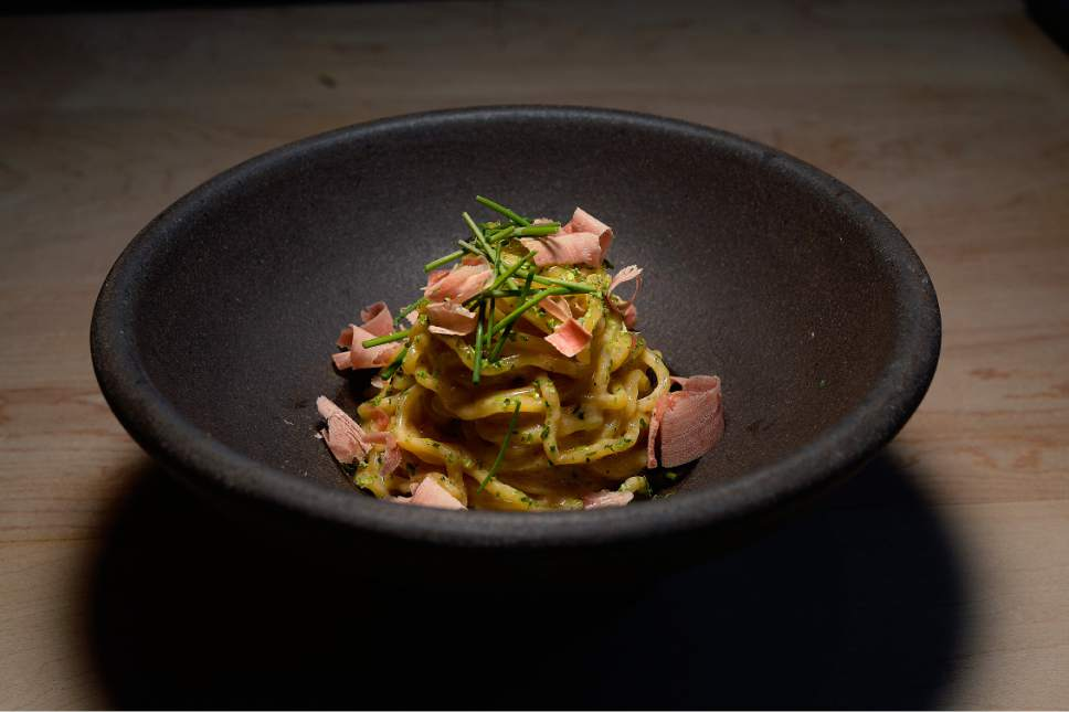 Scott Sommerdorf | The Salt Lake Tribune The ramen carbonara at Ikigai, Friday, April 28, 2017. Ikigai is a new Japanese restaurant in downtown Salt Lake City, just east of the Salt Palace. Owner Johnny Kwon shuttered his popular sushi restaurant, Naked Fish, to create this new small plates space.