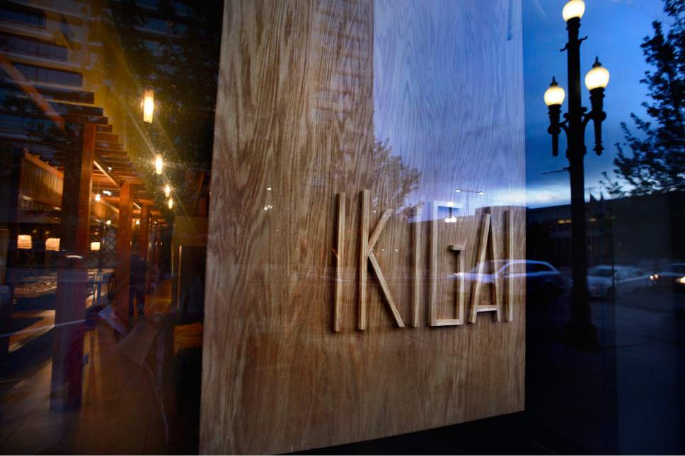 Scott Sommerdorf | The Salt Lake Tribune The Ikigai sign seen through the window at the front of the downtown Salt Lake City Japanese pub. Ikigai, housed in the space once occupied by Mikado and Naked Fish in downtown Salt Lake City, debuted in December with a menu of bar snacks, small plates and entrees that can feed two or more.