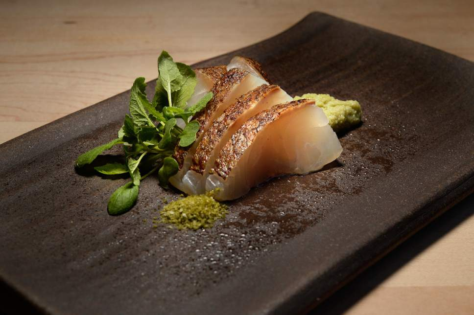 Scott Sommerdorf | The Salt Lake Tribune The red snapper sashimi at Ikigai, Friday, April 28, 2017. Ikigai is a new Japanese restaurant in downtown Salt Lake City, just east of the Salt Palace. Owner Johnny Kwon shuttered his popular sushi restaurant, Naked Fish, to create this new small plates space.