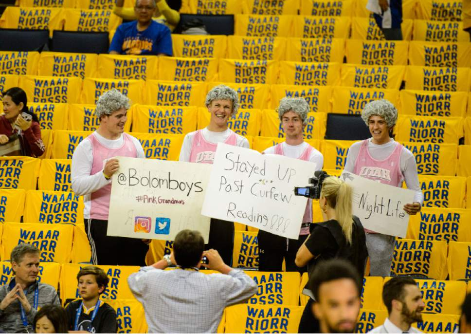 Steve Griffin  |  The Salt Lake Tribune   In a homage to the famous Pink Grandmas, who are die hard Jazz fans, Spencer Plummer, Nick Burnett, Britton Rasmussen and Mitch Meyer made the trip to Oakland from Kaysville, Utah to see the Jazz play the Warriors in game 2 of the NBA playoffs at Oracle Arena in Oakland Thursday May 4, 2017.