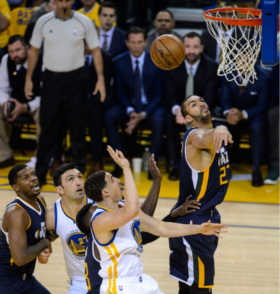 Steve Griffin  |  The Salt Lake Tribune   Utah Jazz center Rudy Gobert (27) blocks the shot of Golden State Warriors guard Klay Thompson (11) during game 2 of the NBA playoff game between the Utah Jazz and the Golden State Warriors at Oracle Arena in Oakland Thursday May 4, 2017.
