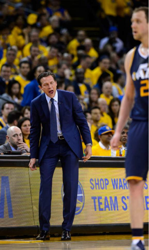Steve Griffin  |  The Salt Lake Tribune   Utah Jazz head coach Quin Snyder screams at his players after they gave up a wide open dunk during game 2 of the NBA playoff game between the Utah Jazz and the Golden State Warriors at Oracle Arena in Oakland Thursday May 4, 2017.