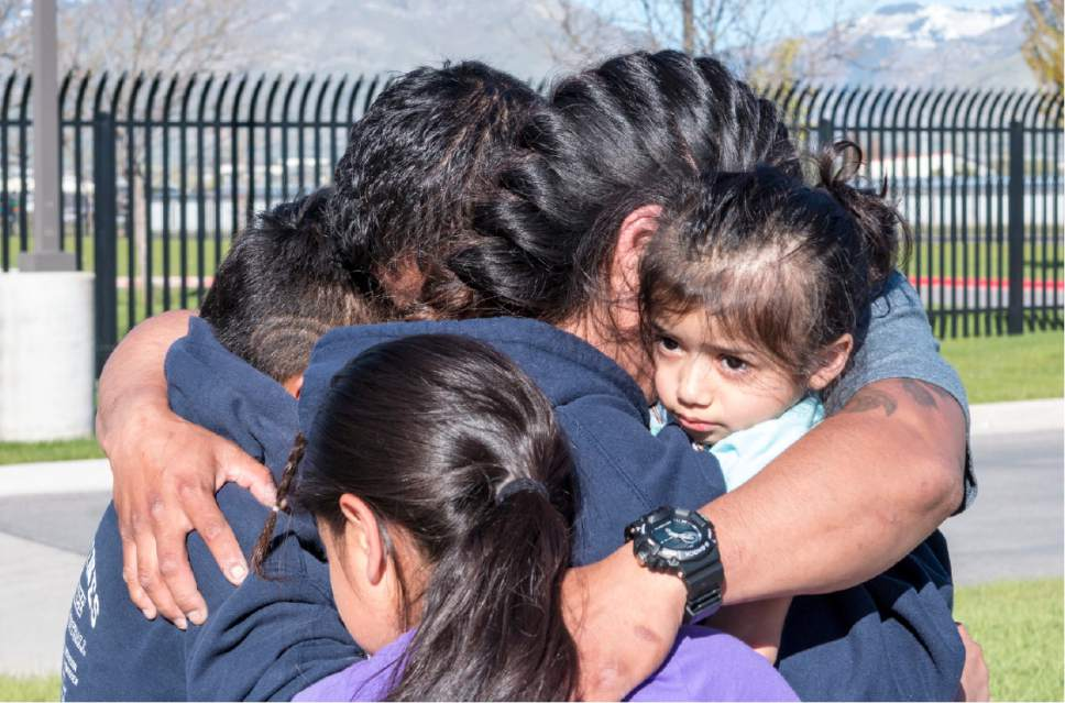 Sydney Oliver  |  Special to The Tribune  Family members of Silvia Avelar-Flores greet her with a hug as she is released from the Cache County Jail on May 4, 2017. Avelar-Flores was detained on Friday, April 28, 2017 by Immigration and Customs Enforcement agents In West Valley, Utah.