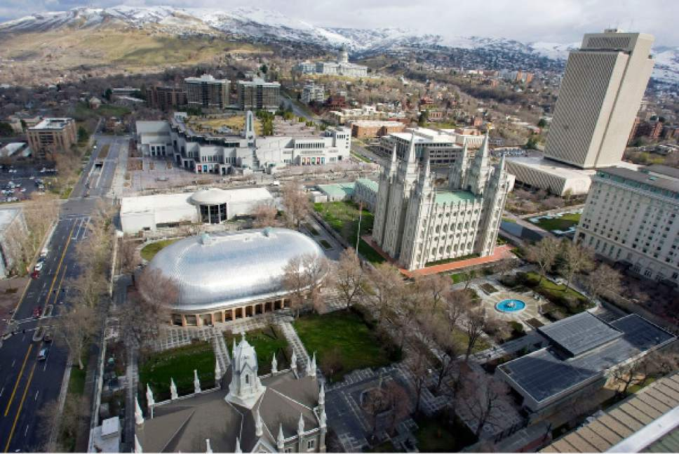Al Hartmann   |  The Salt Lake Tribune  Temple Square with Tabernacle,  Salt Lake Temple, LDS Conference Center, Jospeh Smith Buidling and LDS Church Office Building seen from high angle above South Temple and West Temple on March 22, 2011