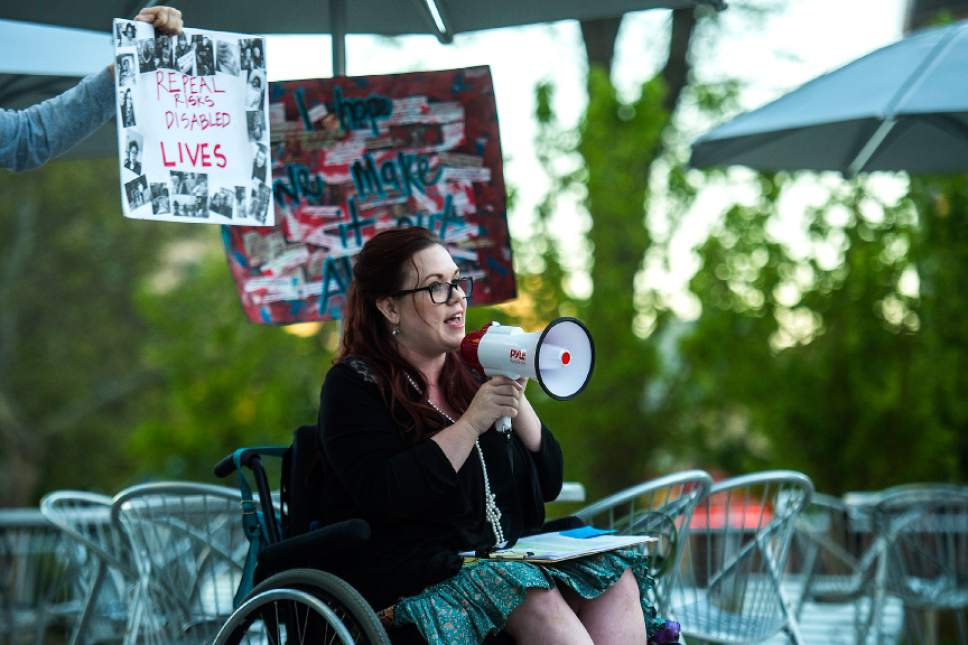 Chris Detrick  |  The Salt Lake Tribune Stacy Stanford speaks during the Utah Hands Off Our Healthcare Rally at the Wallace F. Bennett Federal Building in Salt Lake City Thursday, May 4, 2017.
