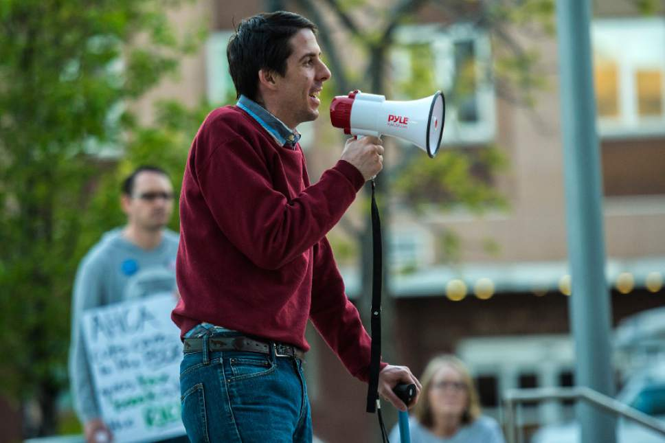 Chris Detrick  |  The Salt Lake Tribune Ben Frank, who is running for congress in 2018, speaks during the Utah Hands Off Our Healthcare Rally at the Wallace F. Bennett Federal Building in Salt Lake City Thursday, May 4, 2017.