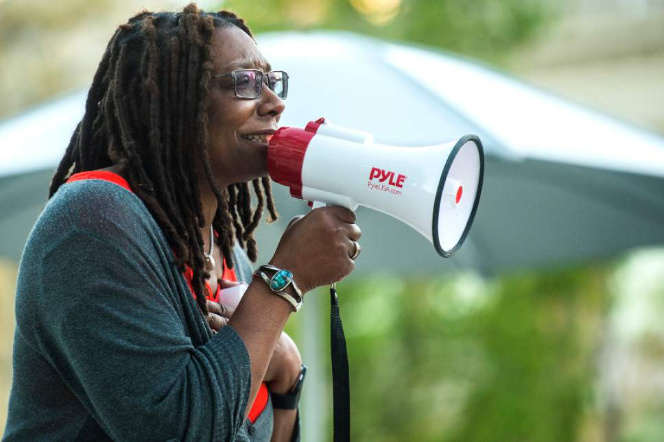 Chris Detrick  |  The Salt Lake Tribune Darlene McDonald, who is running against Rep. Mia Love, R-Utah, speaks during the Utah Hands Off Our Healthcare Rally at the Wallace F. Bennett Federal Building in Salt Lake City Thursday, May 4, 2017.