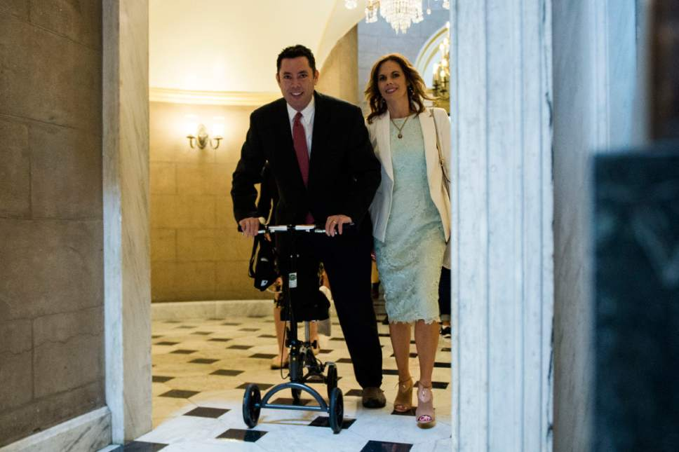 UNITED STATES - MAY 4: Rep. Jason Chaffetz, R-Utah, fresh off foot surgery, makes his way through Statuary Hall on his way to the House floor in the Capitol for the vote on repeal and replace of Obamacare (Photo By Bill Clark/CQ Roll Call) (CQ Roll Call via AP Images)